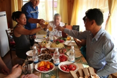 Travelers from Germany and Thailand having Russian Lunch