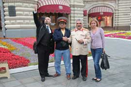 With Lenin and Stalin and a traveler from Malaysia in front of GUM shopping mall.