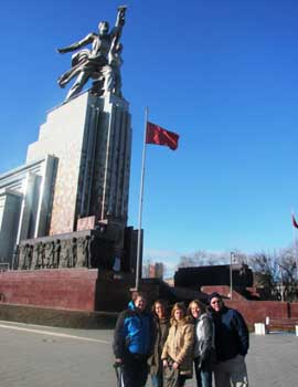 "City Tour with IrinaPhoto stop at VDNKH, in front of the Soviet sculpture ""Worker and Kolkhoz Woman"", sculptor Vera Mukhina,1937."