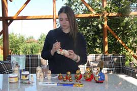 "Paint your own Russian wooden doll ""Matreshka"" with Kristina"