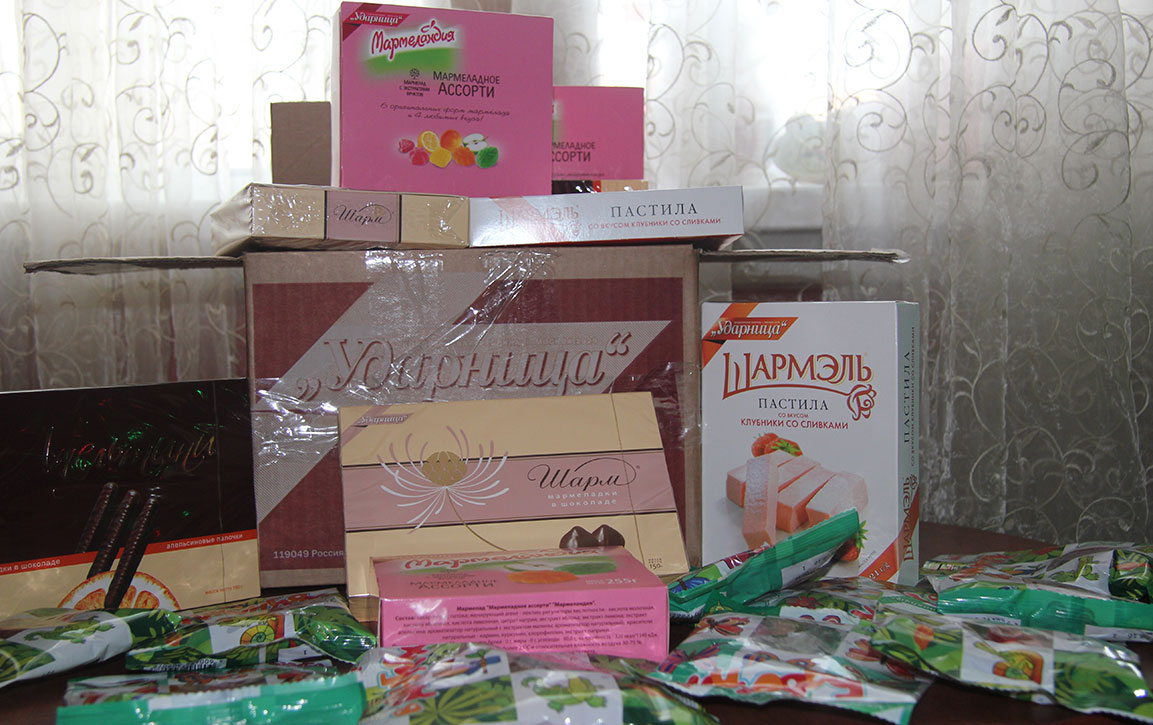 """Confectionary factory """"Udarnitsa"""" has supplied us with sweets for Christmas quiz in an local library"""